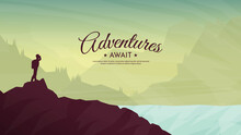 Vector Illustration. A Man With A Backpack Stands On Top Of A Rock And Looks At The Mountains. Flat Design. Concept Of Discovery, Exploration, Hiking, Adventure Tourism And Travel. Landscape View.