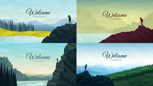 Vector Illustration. Backgrounds Set. Traveler Standing Looking At Mountains. Concept Of Discovery, Exploration, Hiking, Adventure Tourism And Travel. Landscape With Fog In Forest. Website Template