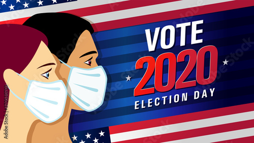 Vote 2020 in USA, blue stripes banner with people on flag Fotobehang