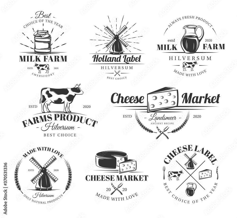 Fototapeta Vintage cheese labels set