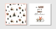 Hand Drawn Vector Abstract Fun Merry Christmas Time Cartoon Cards Collection Set With Cute Illustrations,pug Dog On Sleigh And Modern Typography Text Isolated On White Background