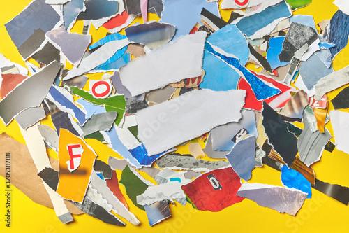 Obraz Paper scrap collage top view as background - fototapety do salonu