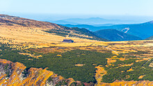 Krkonose - Giant Mountains Panorama. View From Lookout Point On Snezka Mountain