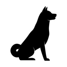 Dog Silhouette On White Background. Isolated Vector Animal Template For Logo Company, Icon, Symbol Etc