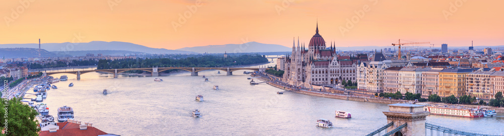 Fototapeta City summer landscape, panorama, banner - top view of the historical center of Budapest with the Danube river, in Hungary