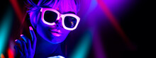 Disco Girl In Neon Light Danci...