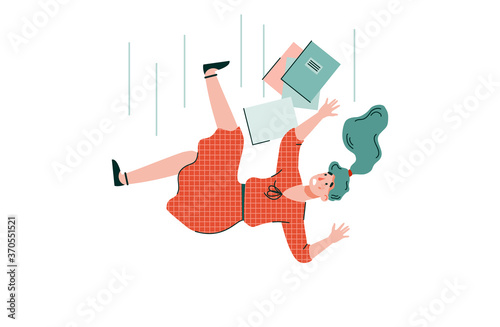 Photo Shocked young woman with books is falling down