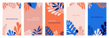 Vector Set Of Abstract Floral Backgrounds With Copy Space For Text In Red And Blue Colors With Effect Of Overprinting. Templates With Leaves And Plants For Posters, Social Media Stories Wallpapers