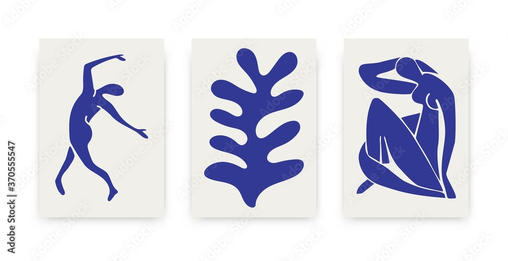 Fototapeta Contemporary Matisse inspired posters. Abstract organic shapes, hand drawn collage set, creative art. Vector illustration