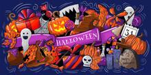 Happy Halloween Hand Drawn Car...