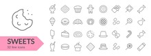 Sweets Line Icon Set. Isolated...