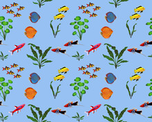 Seamless Pattern With Freshwater Fishes And Water Plants In Colour Image. Species Of Fish: Swordtail, Discus, Loach, Yellow Cichlid, Rasbora