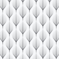 Panel Szklany Podświetlane Czarno-Biały abstract leaves on garland vector pattern, repeating linear skeleton leaves. Pattern is clean for fabric, wallpaper and printing. Pattern is on swatches panel.