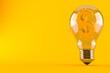 Dollar currency inside light bulb