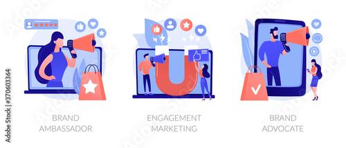 Photo Internet marketing abstract concept vector illustration set
