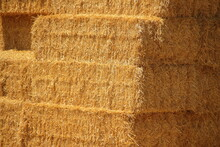Hay Texture. Square Hay Bales  Are Stacked In Large Stacks. Harvesting In Agriculture.