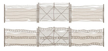 Metal Chain Link Fence With Gate And Barbwire. Old Rusty Rabitz Grid And Wire With Barbs Isolated On White Background. Vector Realistic Illustration Of Iron Mesh, Barrier For Prison, Military Boundary