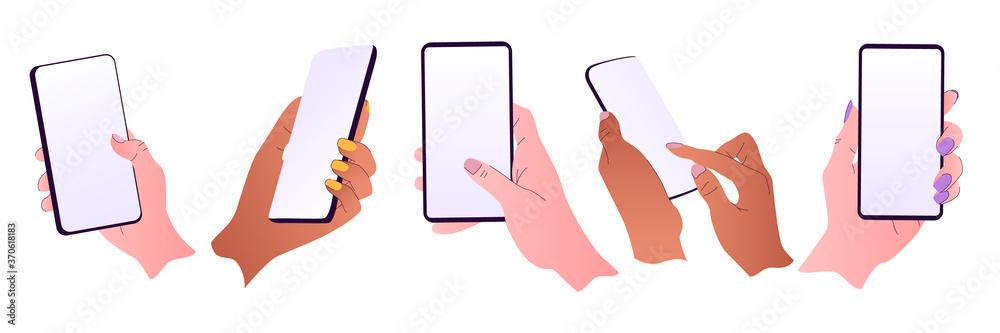 Fototapeta Flat vector hands with phones. Hands holding phones with empty screens