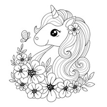 Cute Little Magical Unicorn Surrounded By Flowers And Butterflies. Black And White. Vector Illustration