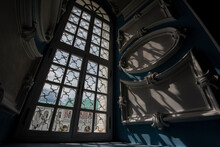 Interior Of Orthodox Church, Baroque Style With Window, Shadows And Sun Light