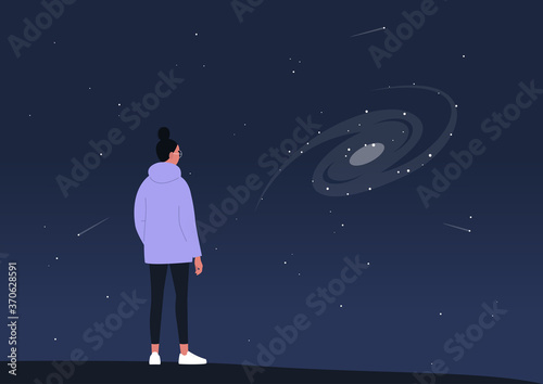 Fotografiet Cosmic landscape, astronomy science, a young female character observing a spiral