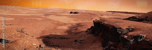 Tableau sur Toile Jezero crater on planet Mars, Martian landscape with ancient river bed