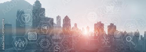 Fototapeta Modern City skyline Business finance success website header.