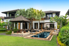 Exterior Design Of House, Home And Pool Villa Feature Swimming Pool, Terrace, Landscape Garden And Sun Bed