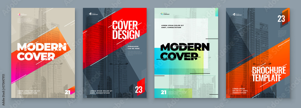 Fototapeta Set of Brochure Design Cover Template for Brochure, Catalog, Layout with Color Shapes. Modern Vector illustration Brochure Concept in Dark Colors