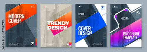 Photo Set of Brochure Design Cover Template for Brochure, Catalog, Layout with Color Shapes