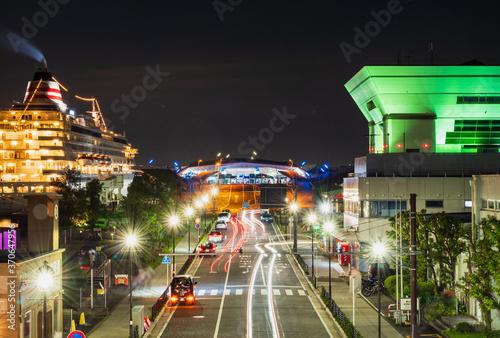 Fototapeta 横浜 大さん橋 夜景 obraz na płótnie