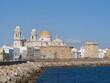 Beautiful panorama of Cadiz Cadix city, along the ocean, with Cathedral of Santa Cruz on Cadiz, Andalusia, Spain