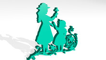 Kids 3D Icon Casting Shadow. 3D Illustration. Children And Background