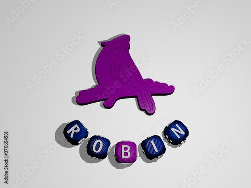 Obraz na plátne ROBIN text around the 3D icon. 3D illustration. bird and american