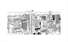 Building View With Landmark Of Amarillo Is A City In The Texas Panhandle. Hand Drawn Sketch Illustration In Vector.