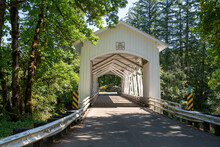 The Short Bridge, An Historic Covered Bridge Near Cascadia Oregon In The Willamette National Forest
