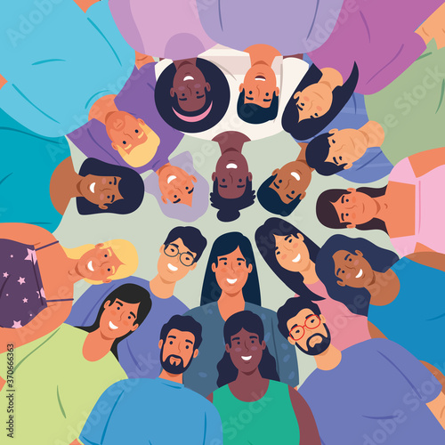 multiethnic big group of people together, diversity and multiculturalism concept Canvas