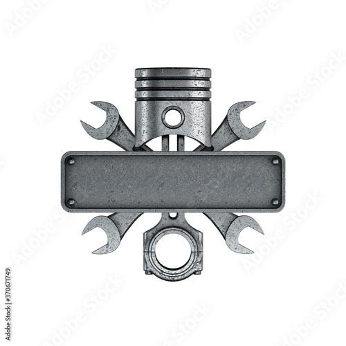 Obraz na plátně Emblem created with piston, keys and license plate