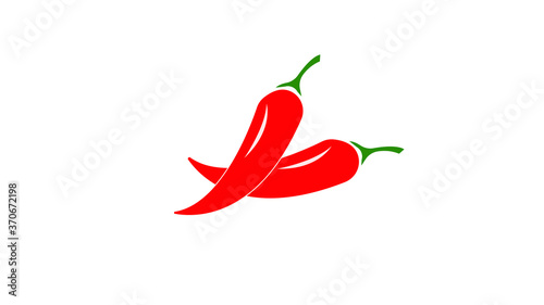 Fotografie, Obraz Red hot Chili pepper logo isolated white background, illustration
