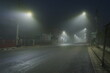 Light and fog in the morning, dangerous lonely road