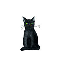 Black Watercolor Cat For Halloween Isolated On A White Background. Witchcraft.