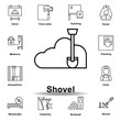 shovel outline icon. set of labor day illustration icon. Signs and symbols can be used for web, logo, mobile app, UI, UX
