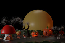 Pumpkins And Mushroom Village House In The Dark Forest For Halloween Day 3d Rendering.