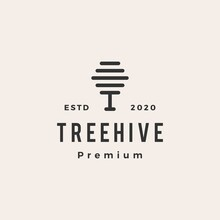 Tree Hive Hipster Vintage Logo Vector Icon Illustration