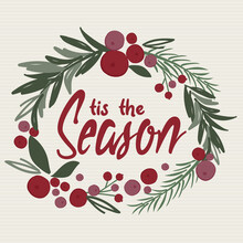 Decoration Christmas Wreath Looking Watercolor With T'is The Seasons Writing, Pine Leaf, Berries, Door Wreath