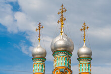 Orthodox Church Of St. Grigory Neokesariisky Of Neocaesaria With Its Onion Domes, Moscow, Detail Domes