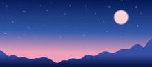 Full Moon In Starry Night Sky ...