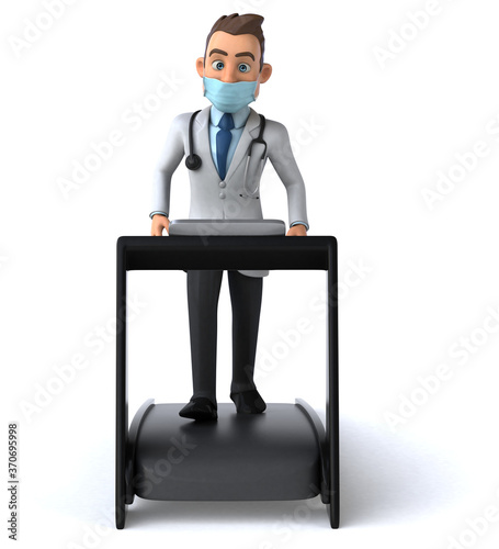 Fun cartoon doctor character with a mask
