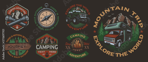 Obraz Set of color vintage badges for the camping theme on the dark background. Perfect for posters, apparel, T-shirt design and many other. Layered - fototapety do salonu