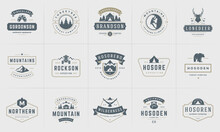 Camping Logos And Badges Templates Vector Design Elements And Silhouettes Set